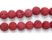 Perle Pierre de Lave Teintée Rouge 12mm