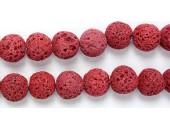 Perle Pierre de Lave Teintée Rouge 14mm