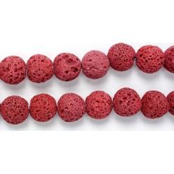 Perle Pierre de Lave Teintée Rouge 16mm