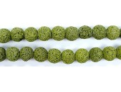 Perle Pierre de Lave Teintée Vert Fonce 10mm