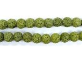 Perle Pierre de Lave Teintée Vert Fonce 14mm
