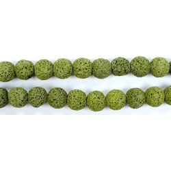 Perle Pierre de Lave Teintée Vert Fonce 16mm