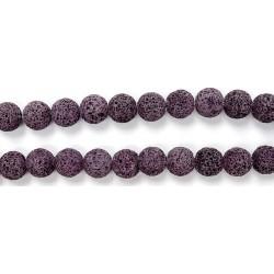 Perle Pierre de Lave Teintée Violet Clair 14mm