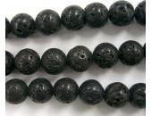 Perle Pierre de Lave Noire Naturelle 08mm