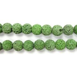 Perle Pierre de Lave Teintée Vert Clair 8mm