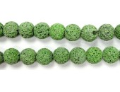 Perle Pierre de Lave Teintée Vert Clair 12mm